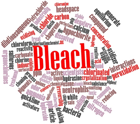 dioxin: Abstract word cloud for Bleach with related tags and terms Stock Photo