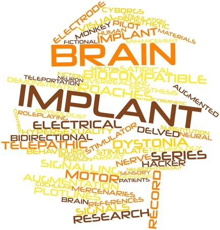 mnemonic: Abstract word cloud for Brain implant with related tags and terms