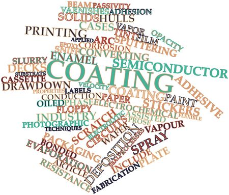 transferred: Abstract word cloud for Coating with related tags and terms Stock Photo