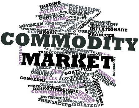 upturn: Abstract word cloud for Commodity market with related tags and terms Stock Photo