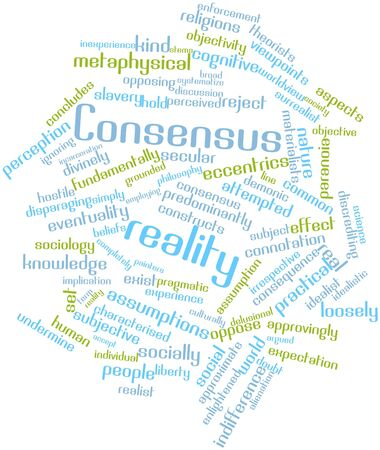 concludes: Abstract word cloud for Consensus reality with related tags and terms Stock Photo