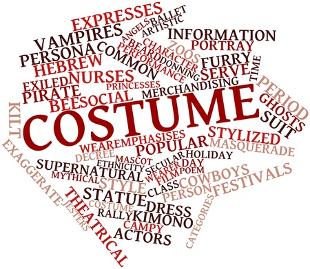 wearer: Abstract word cloud for Costume with related tags and terms