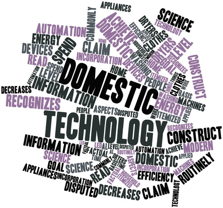factual: Abstract word cloud for Domestic technology with related tags and terms