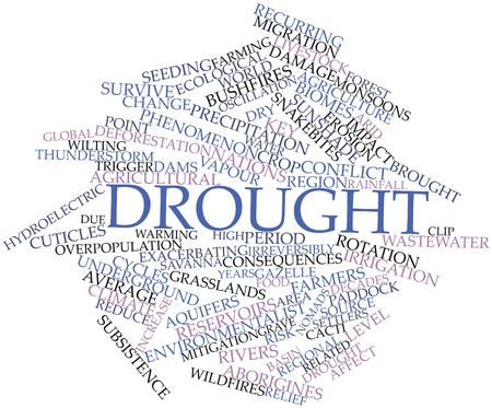 Abstract word cloud for Drought with related tags and terms photo