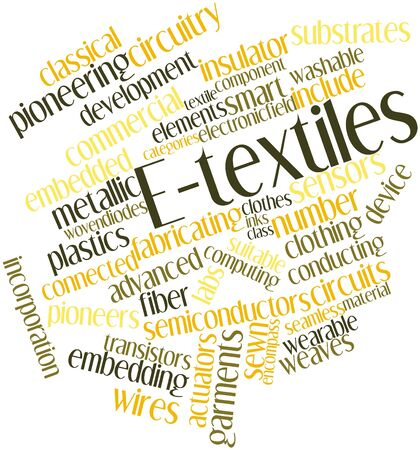 strictly: Abstract word cloud for E-textiles with related tags and terms Stock Photo