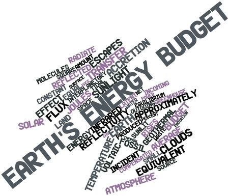 reflectivity: Abstract word cloud for Earths energy budget with related tags and terms Stock Photo