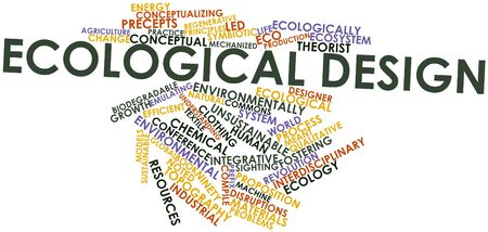 essays: Abstract word cloud for Ecological design with related tags and terms Stock Photo