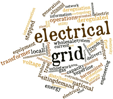 Abstract word cloud for Electrical grid with related tags and terms photo
