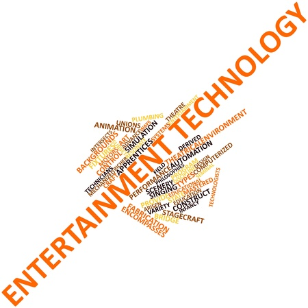 seminal: Abstract word cloud for Entertainment technology with related tags and terms Stock Photo