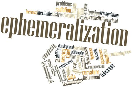 coined: Abstract word cloud for Ephemeralization with related tags and terms Stock Photo