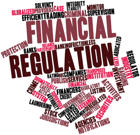 regulations: Abstract word cloud for Financial regulation with related tags and terms Stock Photo