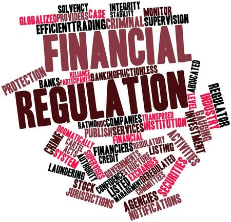 Nube palabra abstracta para la regulación financiera con las etiquetas y términos relacionados