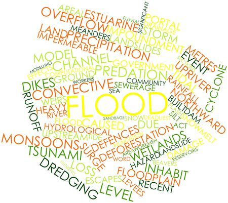 Abstract word cloud for Flood with related tags and terms Stock Photo - 16500576