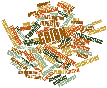 slant: Abstract word cloud for Gaian with related tags and terms Stock Photo