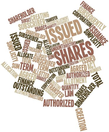 subset: Abstract word cloud for Issued shares with related tags and terms
