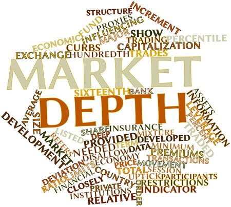 increment: Abstract word cloud for Market depth with related tags and terms Stock Photo