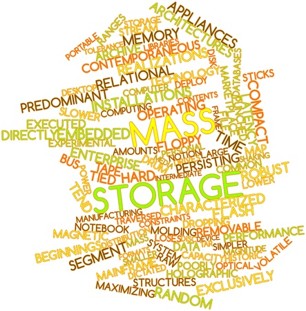 enterprise: Abstract word cloud for Mass storage with related tags and terms