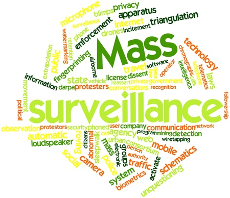 wiretapping: Abstract word cloud for Mass surveillance with related tags and terms Stock Photo
