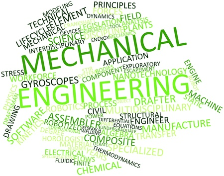 assembler: Abstract word cloud for Mechanical engineering with related tags and terms