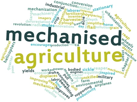spacing: Abstract word cloud for Mechanised agriculture with related tags and terms