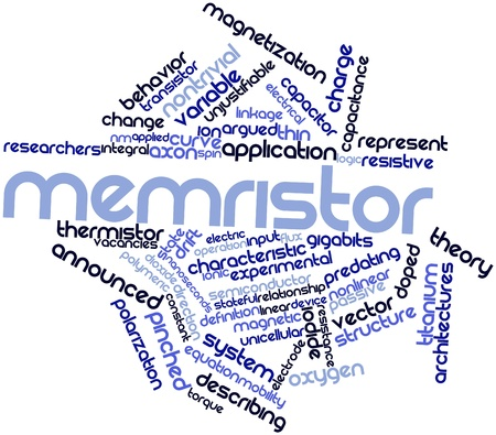 thermistor: Abstract word cloud for Memristor with related tags and terms Stock Photo