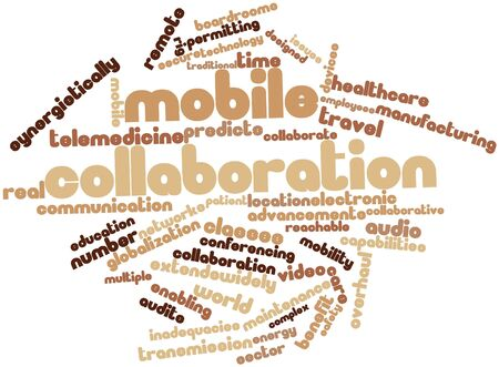 Abstract word cloud for Mobile collaboration with related tags and terms Stock Photo - 16499433