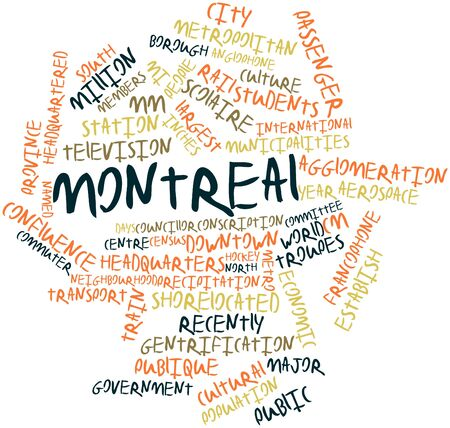 intercity: Abstract word cloud for Montreal with related tags and terms