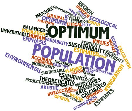 assumptions: Abstract word cloud for Optimum population with related tags and terms