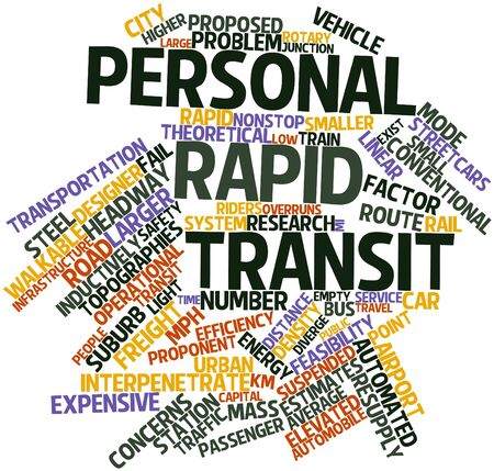 overruns: Abstract word cloud for Personal rapid transit with related tags and terms Stock Photo