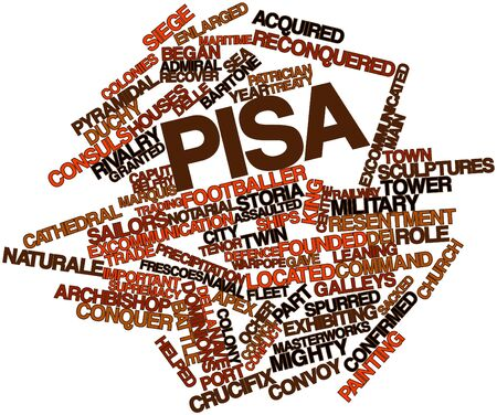 acquired: Abstract word cloud for Pisa with related tags and terms