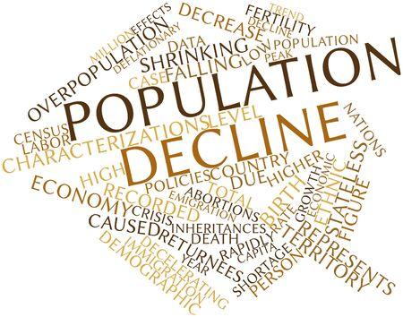 población: Nube palabra abstracta para Disminución de la población con las etiquetas y términos relacionados Foto de archivo