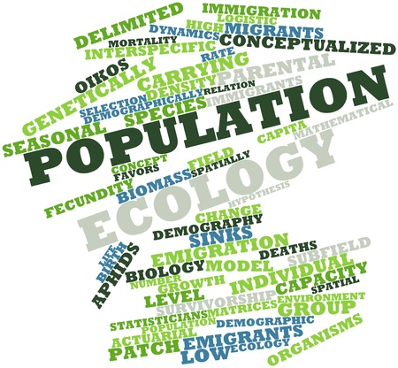 demografia: Nube palabra abstracta para la ecología de la población con las etiquetas y términos relacionados