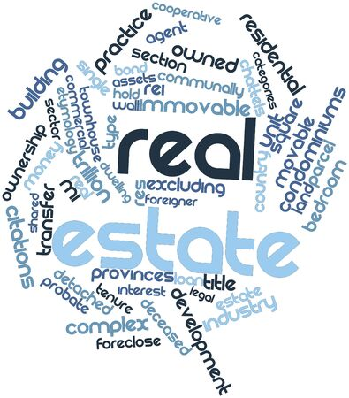 Abstract word cloud for Real estate with related tags and terms Stock Photo - 16499647