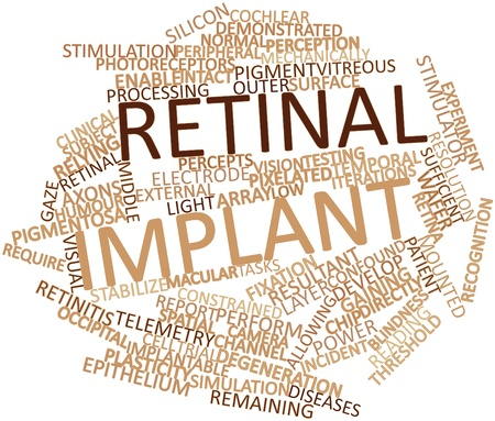 retinal: Abstract word cloud for Retinal implant with related tags and terms