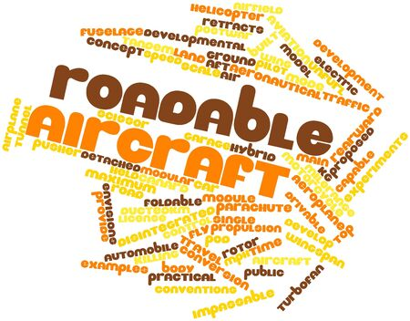 turbofan: Abstract word cloud for Roadable aircraft with related tags and terms Stock Photo