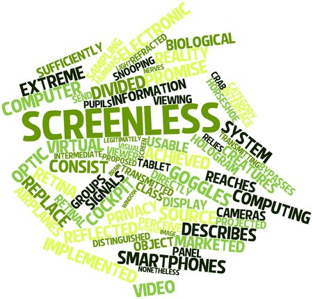refracted: Abstract word cloud for Screenless with related tags and terms
