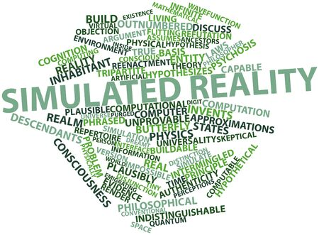 invents: Abstract word cloud for Simulated reality with related tags and terms Stock Photo