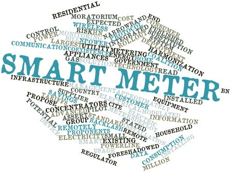 meters: Abstract word cloud for Smart meter with related tags and terms Stock Photo