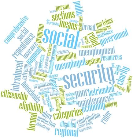 arrepentimiento: Nube de palabras Resumen de la Seguridad Social con las etiquetas y términos relacionados Foto de archivo