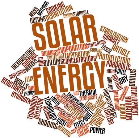 Abstract word cloud for Solar energy with related tags and terms photo