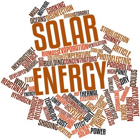 radiacion solar: Nube de la palabra abstracta de la energía solar con etiquetas y términos relacionados