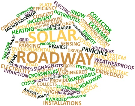 engineered: Abstract word cloud for Solar roadway with related tags and terms Stock Photo