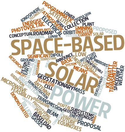 payload: Abstract word cloud for Space-based solar power with related tags and terms