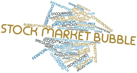 unfavorable: Abstract word cloud for Stock market bubble with related tags and terms Stock Photo