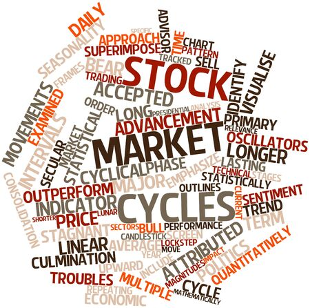 superimpose: Abstract word cloud for Stock market cycles with related tags and terms