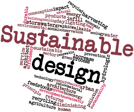 rainwater: Abstract word cloud for Sustainable design with related tags and terms Stock Photo