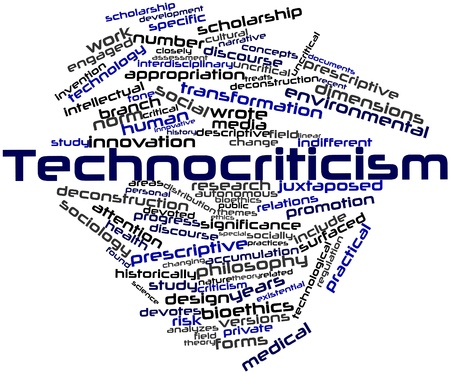 bioethics: Abstract word cloud for Technocriticism with related tags and terms Stock Photo