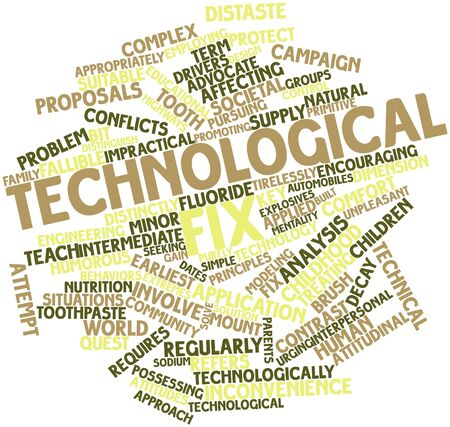 Abstract word cloud for Technological fix with related tags and terms Stock Photo - 16500646