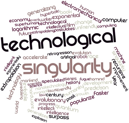 technological: Abstract word cloud for Technological singularity with related tags and terms