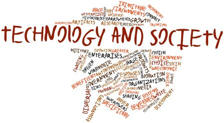 technological evolution: Abstract word cloud for Technology and society with related tags and terms